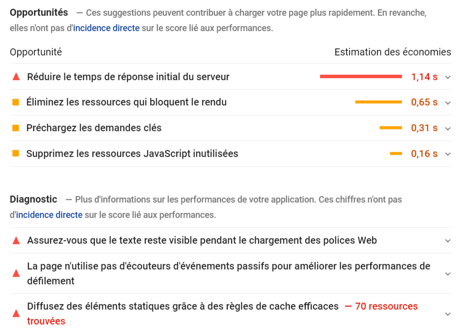 Opportunites Diagnostic Google PageSpeed Insights