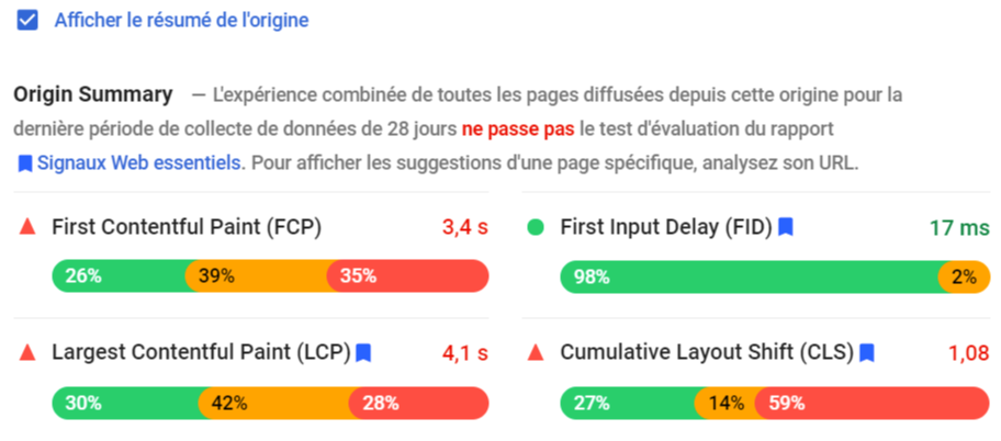 Interface Google PageSpeed Insights